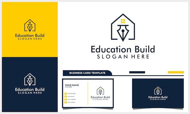 Projekt logo domu lub domu z koncepcją symbolu ikony edukacji i szablonem wizytówki