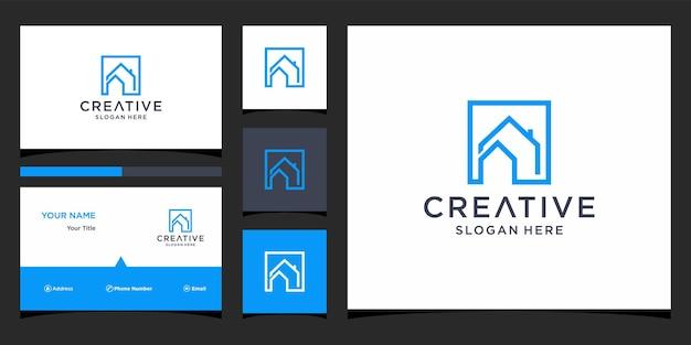 Projekt logo domu z szablonem wizytówki