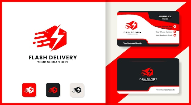 Projekt logo dostawy i wizytówka thunder box