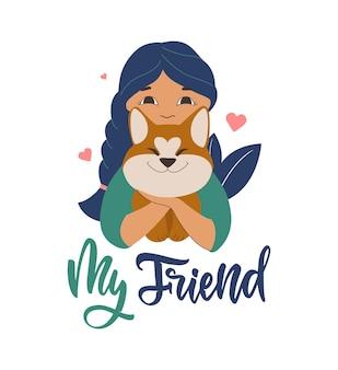 Projekt logo dziewczyny i zabawnego psa na światowy dzień zwierzaka akita z cytatem mojego przyjaciela na karty