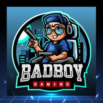 Projekt logo e-sport maskotka zły chłopiec strzelców