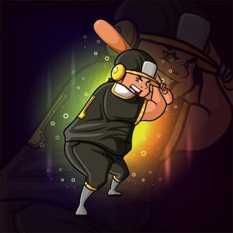 Projekt logo e-sportowego gracza baseballowego z ilustracji