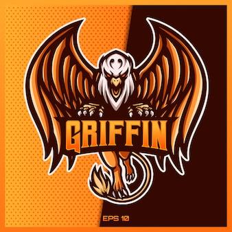 Projekt logo e-sportowego i maskotki griffin eagle w nowoczesnej koncepcji ilustracji do drukowania odznaki zespołu, godła i pragnienia. griffin eagle ilustracja na żółtego złota tle. ilustracja