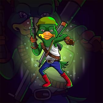 Projekt logo e-sportowego strzelca z kaczką