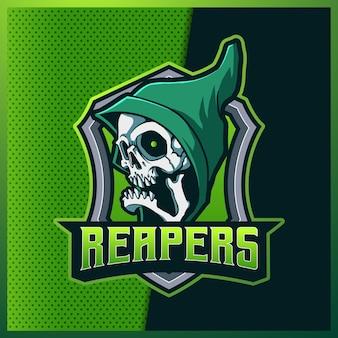 Projekt logo e-sportowej i sportowej maskotki green grim reaper