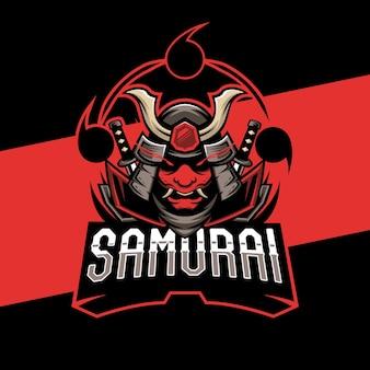 Projekt logo e-sportowej maski samuraja. ilustracja maskotka maska samuraja