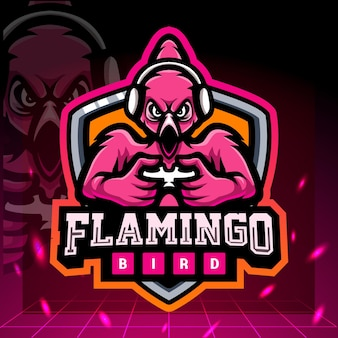 Projekt logo e-sportowej maskotki do gier flamingo