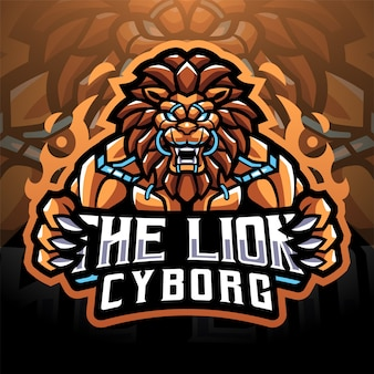 Projekt logo e-sportowej maskotki lion cyborg