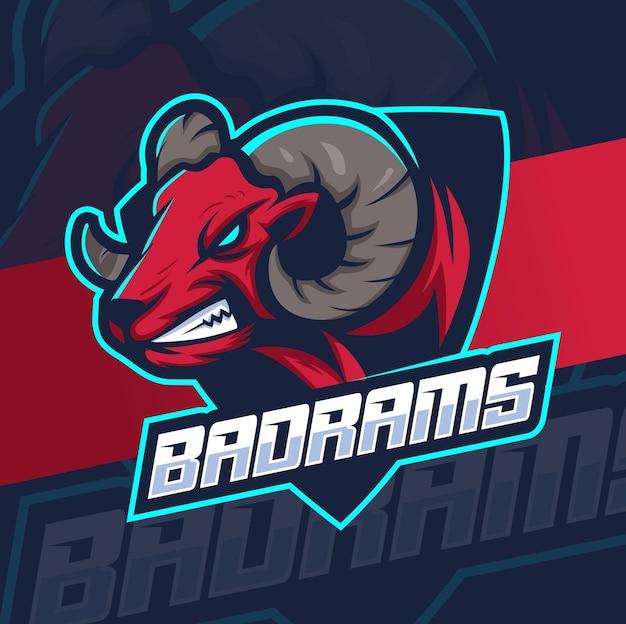 Projekt logo e-sportowej maskotki z dużą głową kozy barana do gier i sportu