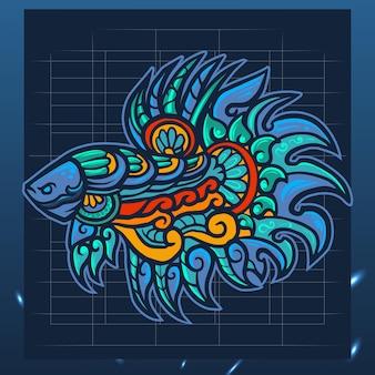 Projekt logo e-sportowej maskotki z rybą betta zentangle