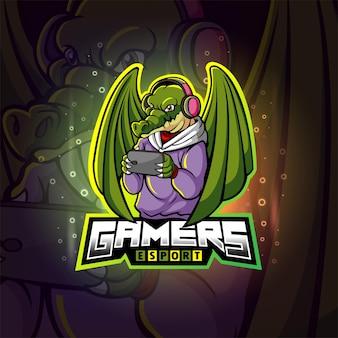 Projekt logo e-sportu krokodyla graczy z ilustracji