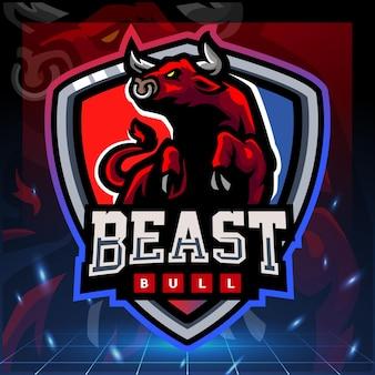 Projekt logo e-sportu maskotki bestii byka