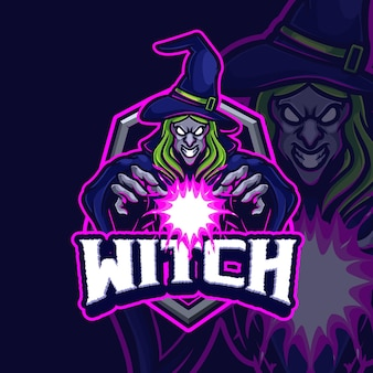 Projekt logo e-sportu maskotki czarownicy