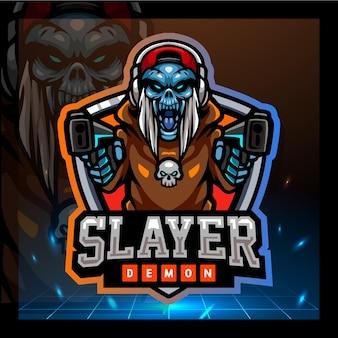 Projekt logo e-sportu maskotki demona slayera