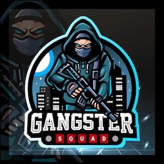 Projekt logo e-sportu maskotki gangstera