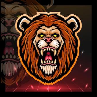 Projekt logo e-sportu maskotki głowy lwa