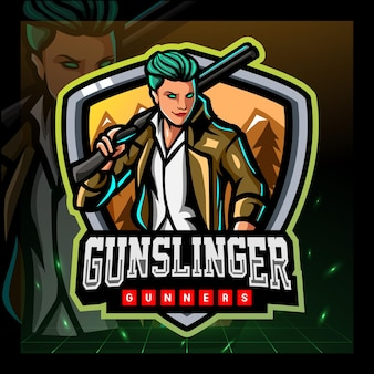 Projekt logo e-sportu maskotki gunslinger