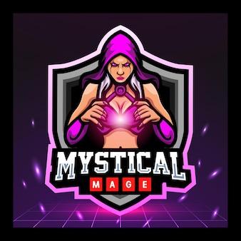 Projekt logo e-sportu maskotki maga czarodzieja