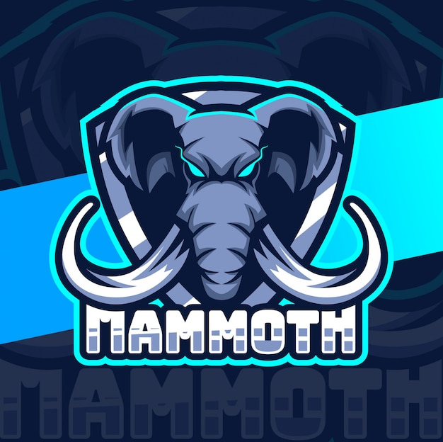 Projekt logo e-sportu maskotki mamuta