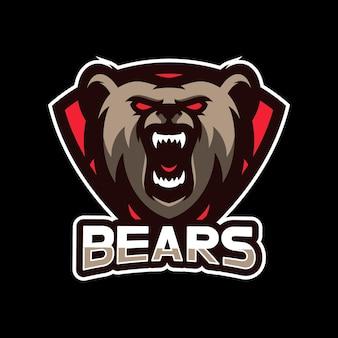 Projekt logo e-sportu maskotki niedźwiedzi
