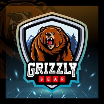 Projekt logo e-sportu maskotki niedźwiedzia grizzly