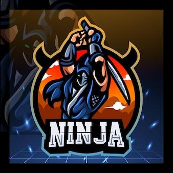 Projekt logo e-sportu maskotki ninja