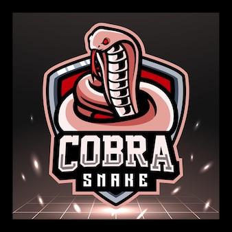 Projekt logo e-sportu maskotki plującej kobry w monokl