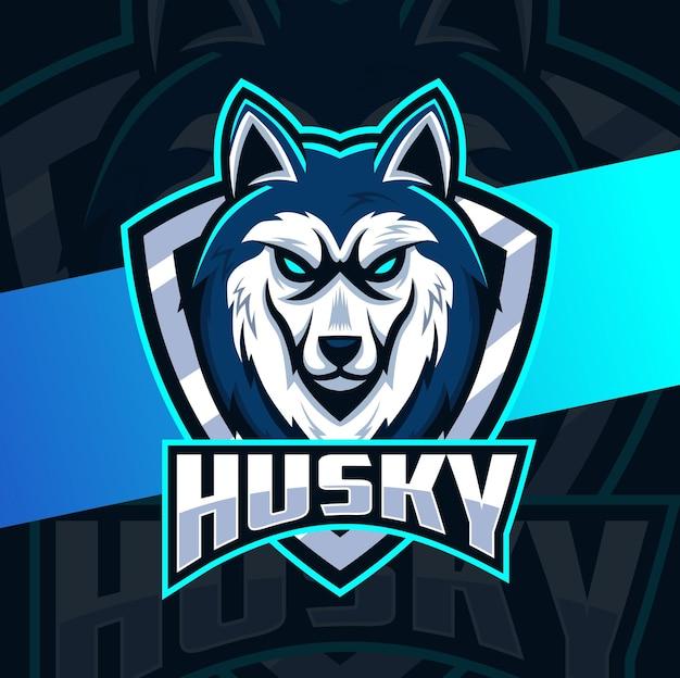 Projekt logo e-sportu maskotki psa husky dla sportu i logo zwierząt