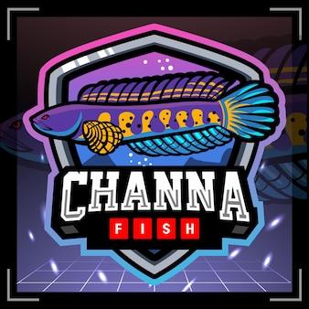Projekt logo e-sportu maskotki ryb channa aurantimaculata