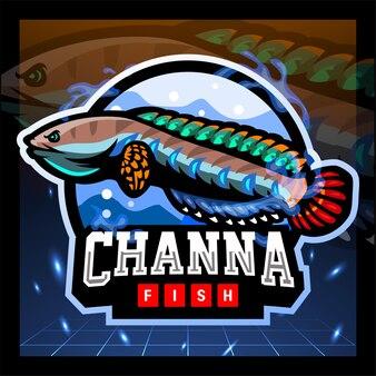 Projekt logo e-sportu maskotki ryb channa bleheri