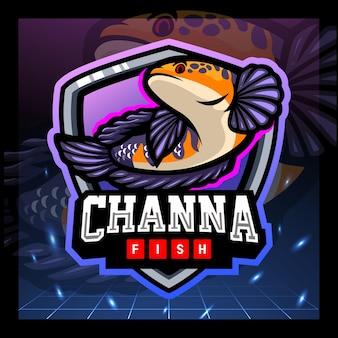 Projekt logo e-sportu maskotki ryb channa marulius