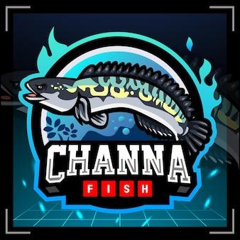 Projekt logo e-sportu maskotki ryb channa micropeltes