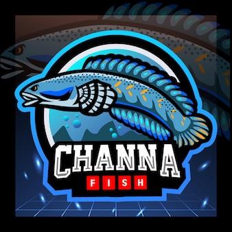 Projekt logo e-sportu maskotki ryb channa pulchra