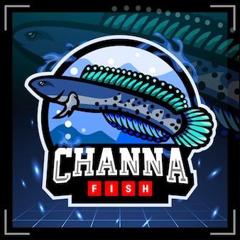 Projekt logo e-sportu maskotki ryb channa stewartii