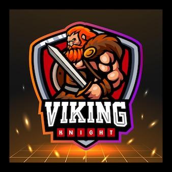 Projekt logo e-sportu maskotki rycerza wikinga