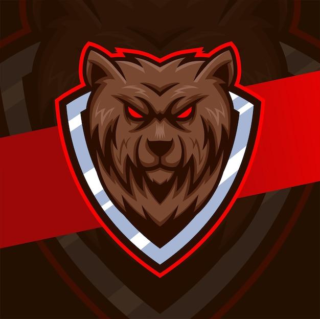 Projekt logo e-sportu maskotki szalonego niedźwiedzia dla logo gier i sportu