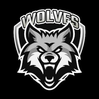 Projekt logo e-sportu maskotki wilka