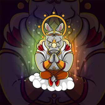 Projekt logo e-sportu nosorożca medytacyjnego na ilustracji