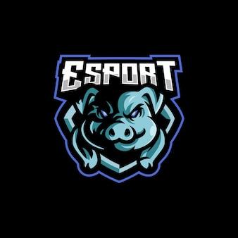 Projekt logo e-sportu świń