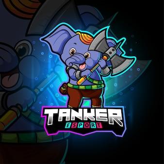 Projekt logo e-sportu szczęśliwego słonia tankowca na ilustracji