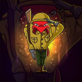 Projekt logo e-sportu żołnierza mrówki na ilustracji