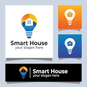 Projekt logo elektrycznego inteligentnego domu w nowoczesnym kolorze
