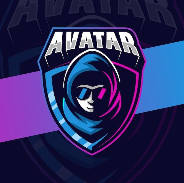 Projekt logo esport maskotka awatara hakera