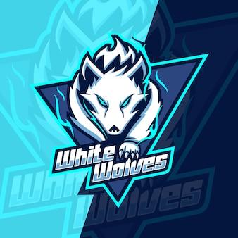 Projekt logo esport maskotka białe wilki