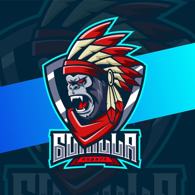 Projekt logo esport maskotka goryla indian chief