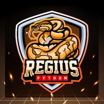 Projekt logo esport maskotka python piłka.