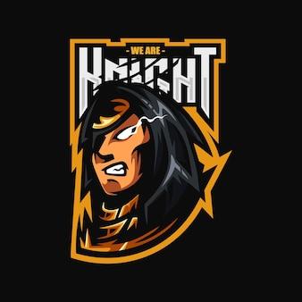 Projekt logo esport maskotka rycerza księcia