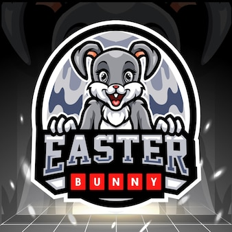 Projekt logo esport maskotka wielkanocny zajączek
