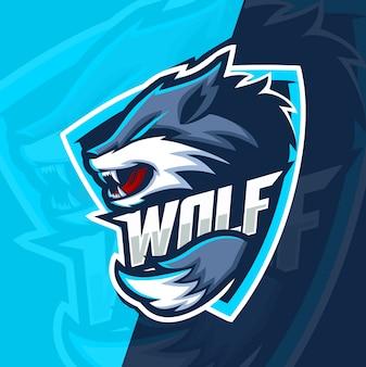 Projekt logo esport maskotka wilk wilki