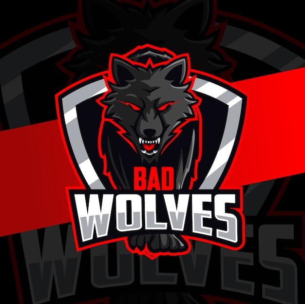 Projekt logo esport maskotka złe wilki